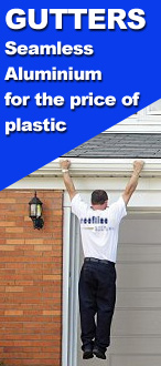 Special offer install custom made Seamless Aluminium Gutters for the price of Plastic Gutters